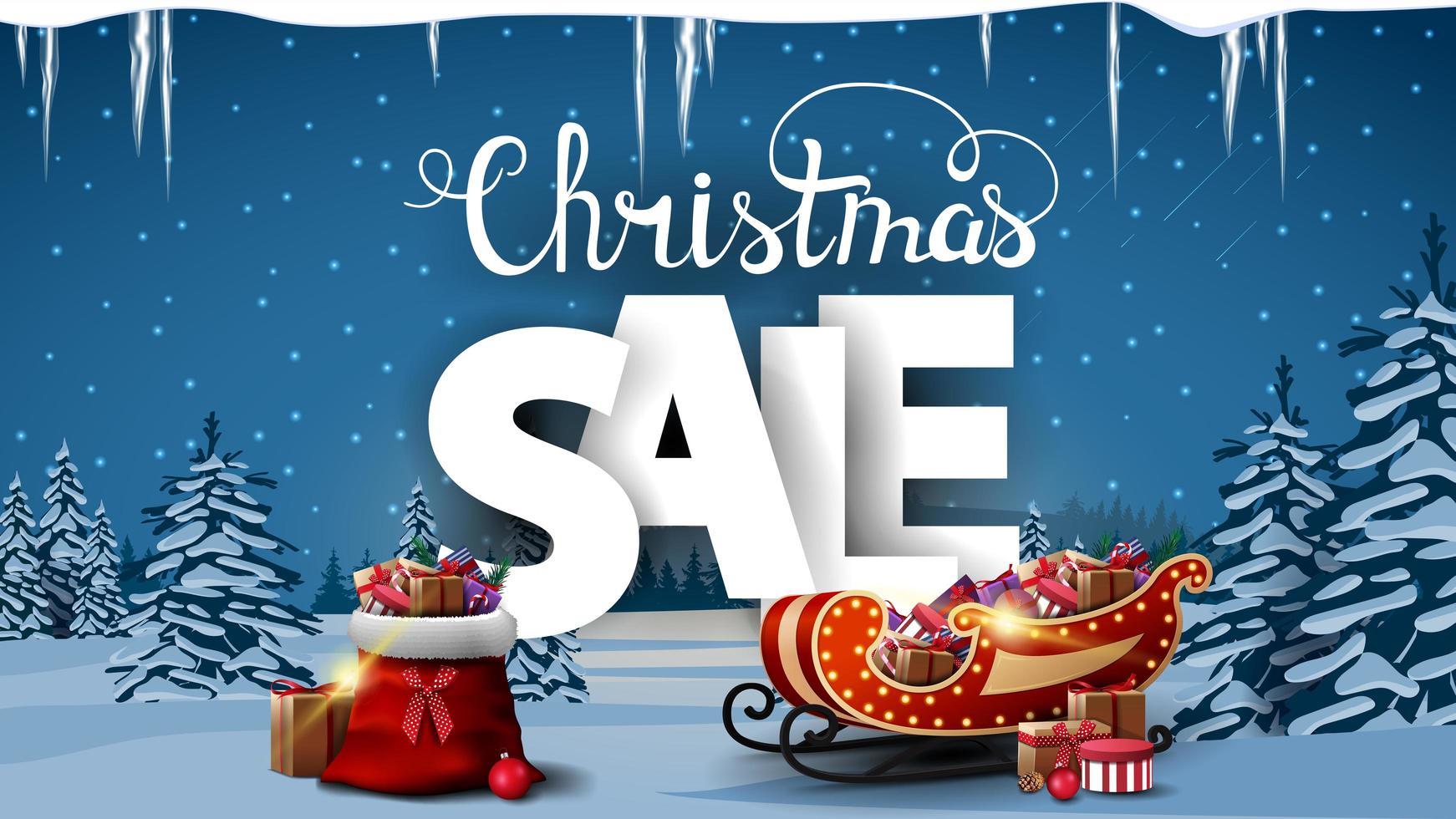 venta de navidad, banner de descuento vector