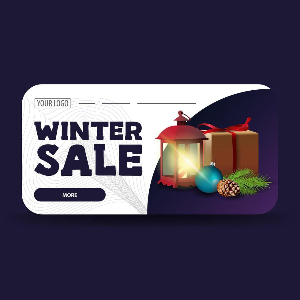 Venta de invierno, banner web moderno horizontal. vector