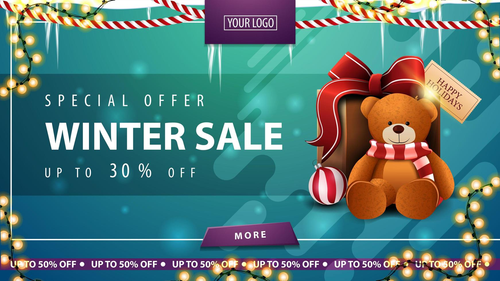 Winter sale, green discount banner with icicles vector