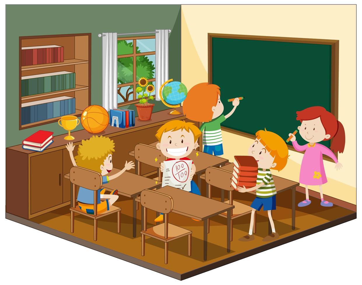 niños en el aula con muebles. vector