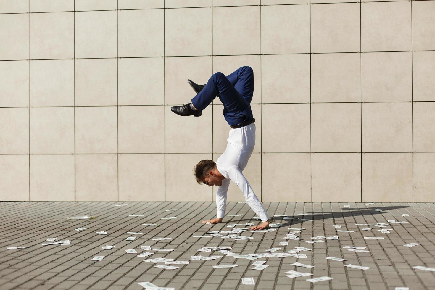 Doing a hand stand photo
