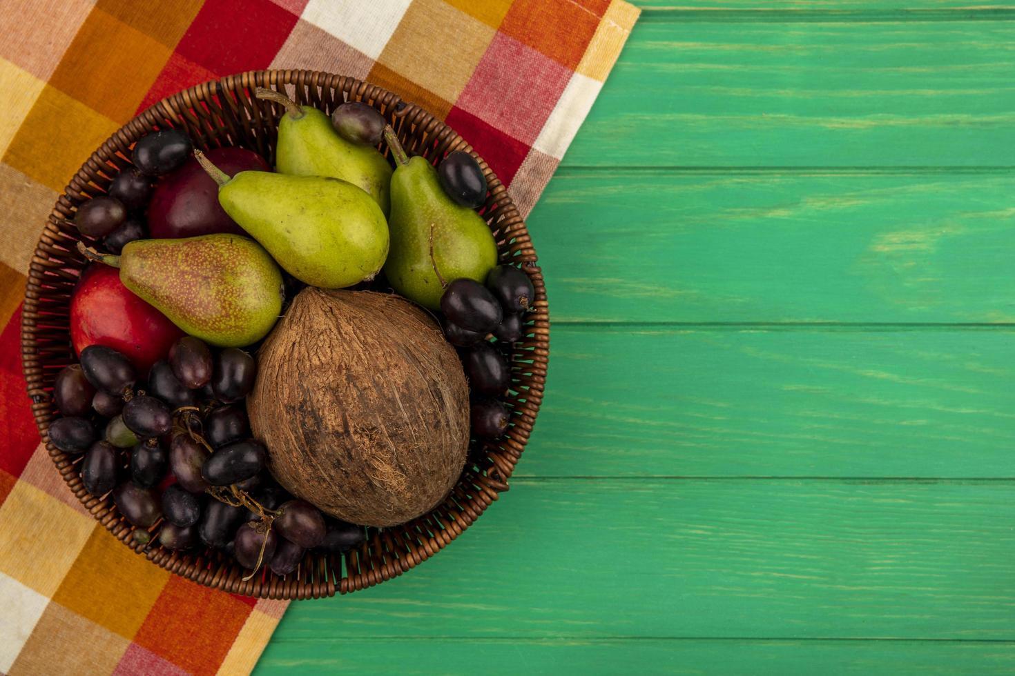 Assorted fruit on stylized mid-autumn background photo
