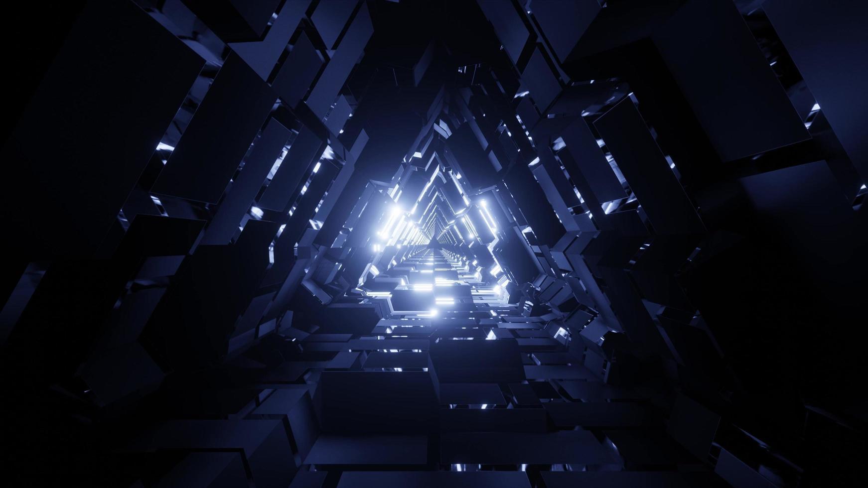 Un túnel espacial triangular de ilustración 3d con textura foto