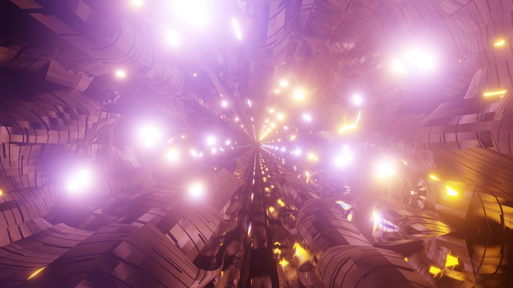 túnel de luces de neón brillante foto