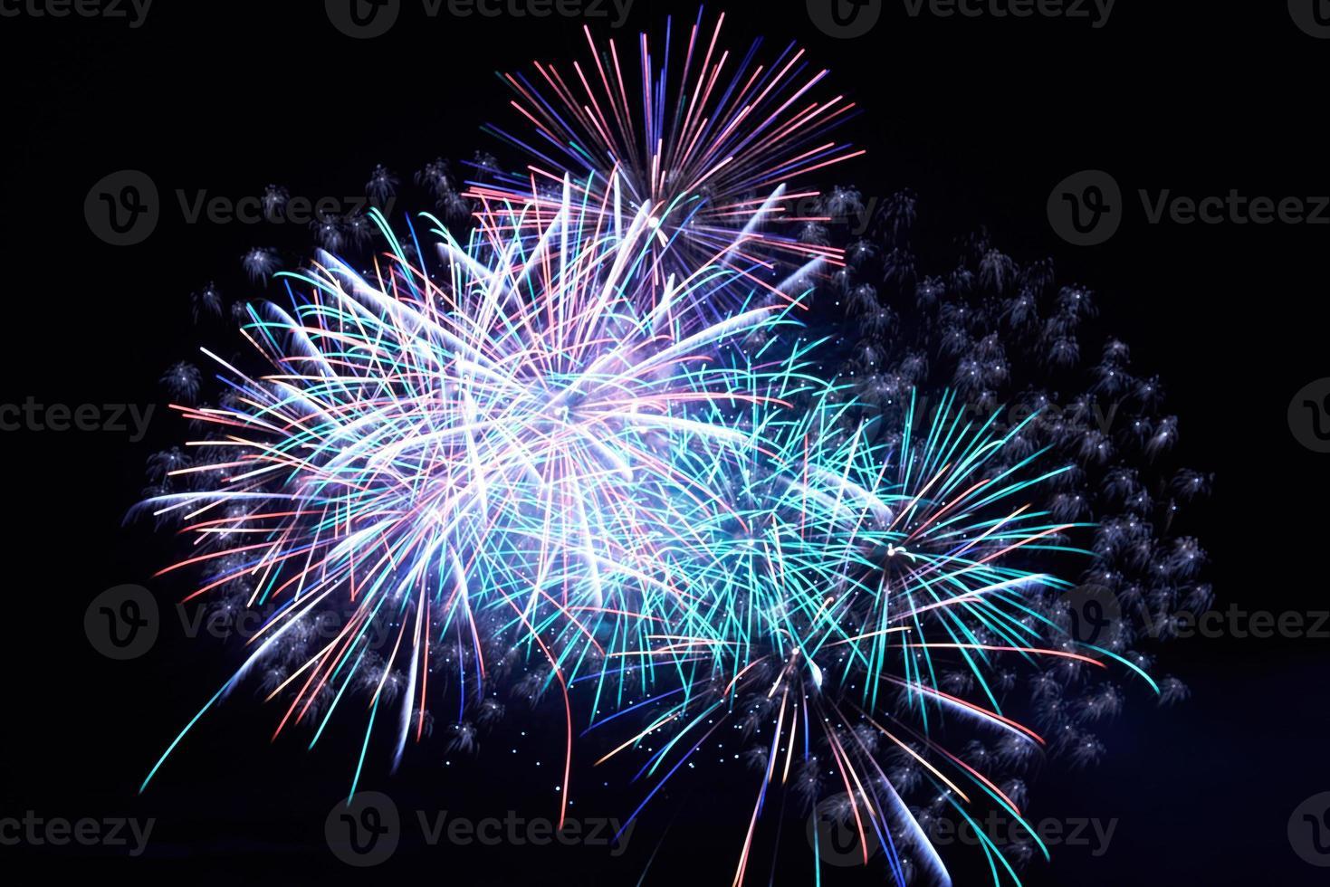 fuegos artificiales azules foto