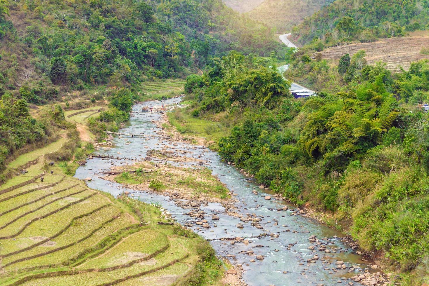 hermoso paisaje sobre campo de arroz en terrazas con río en myan foto
