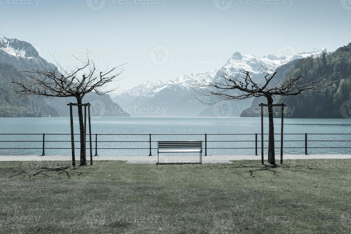 Park in town Brunnen in Switzerland photo