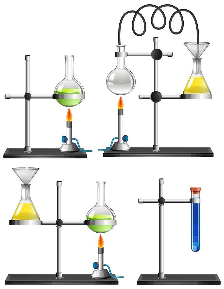 Conjunto de equipos científicos sobre fondo blanco. vector