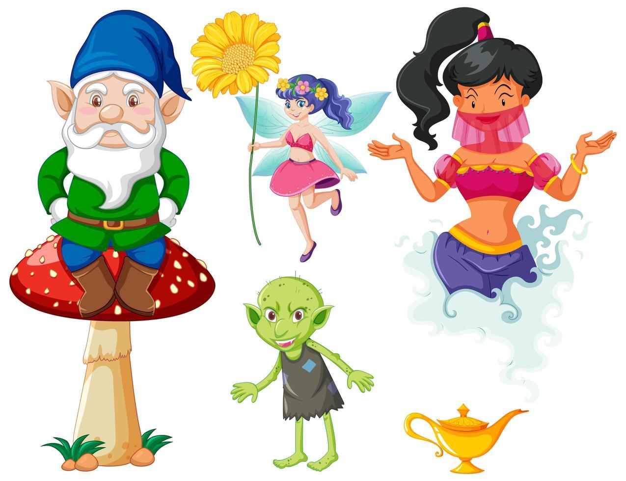 conjunto de personaje de dibujos animados de fantasía de cuento de hadas sobre fondo blanco vector