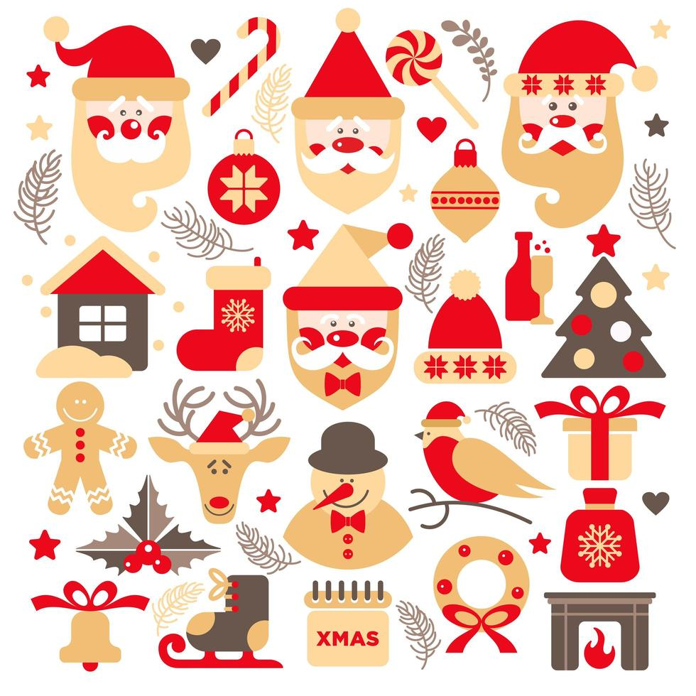 Set of Santa Claus with gifts, tree and Christmas elements vector
