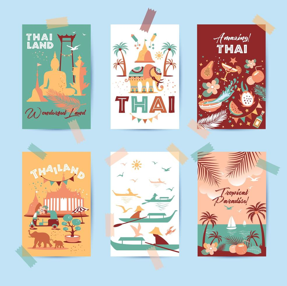 Collection of Thailand symbols in six cards vector