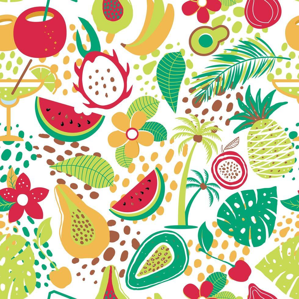 patrón hawaiano con frutas y flores tropicales vector