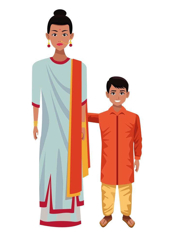 Indian family cartoon characters vector