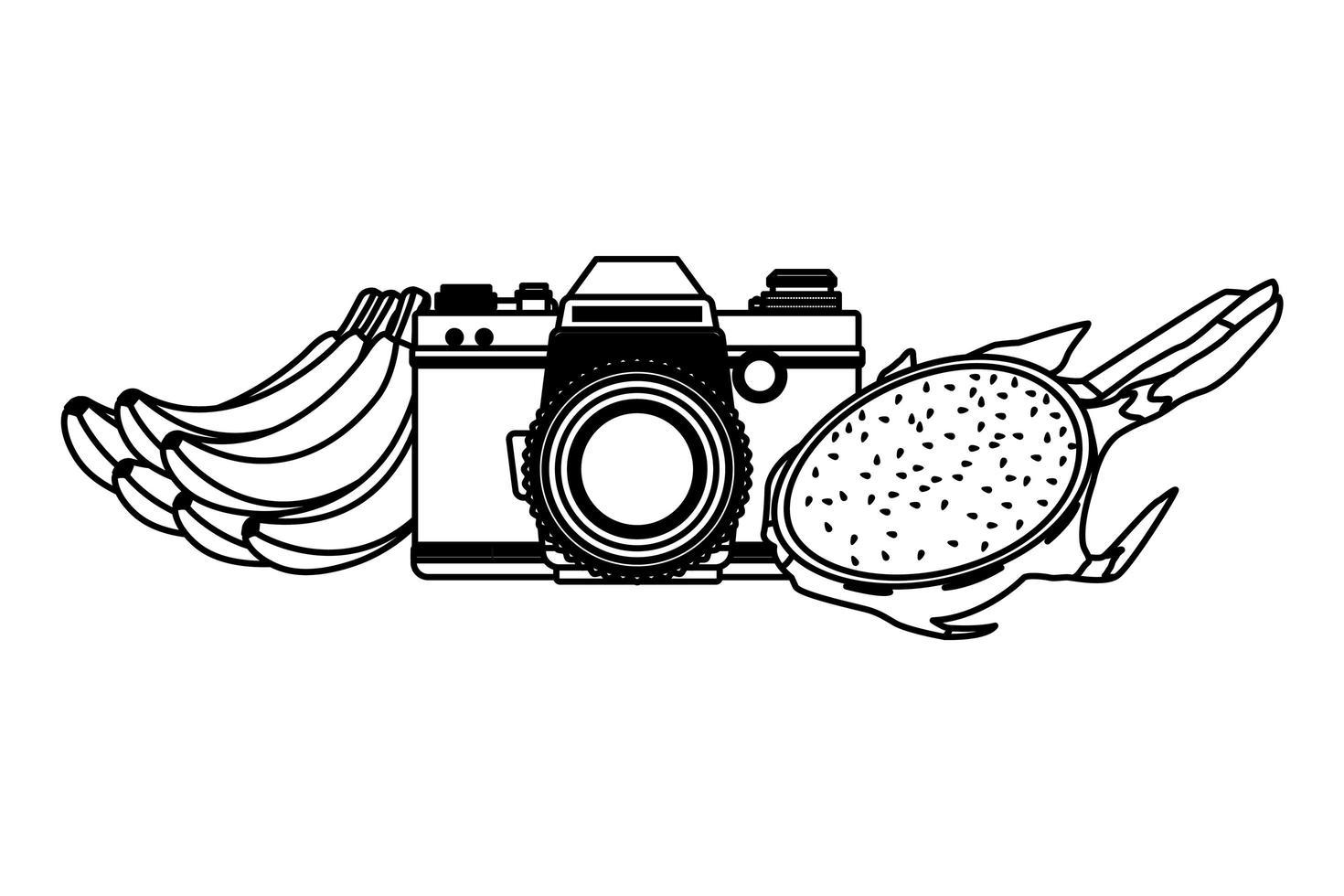 playa de verano y dibujos animados de vacaciones en blanco y negro vector
