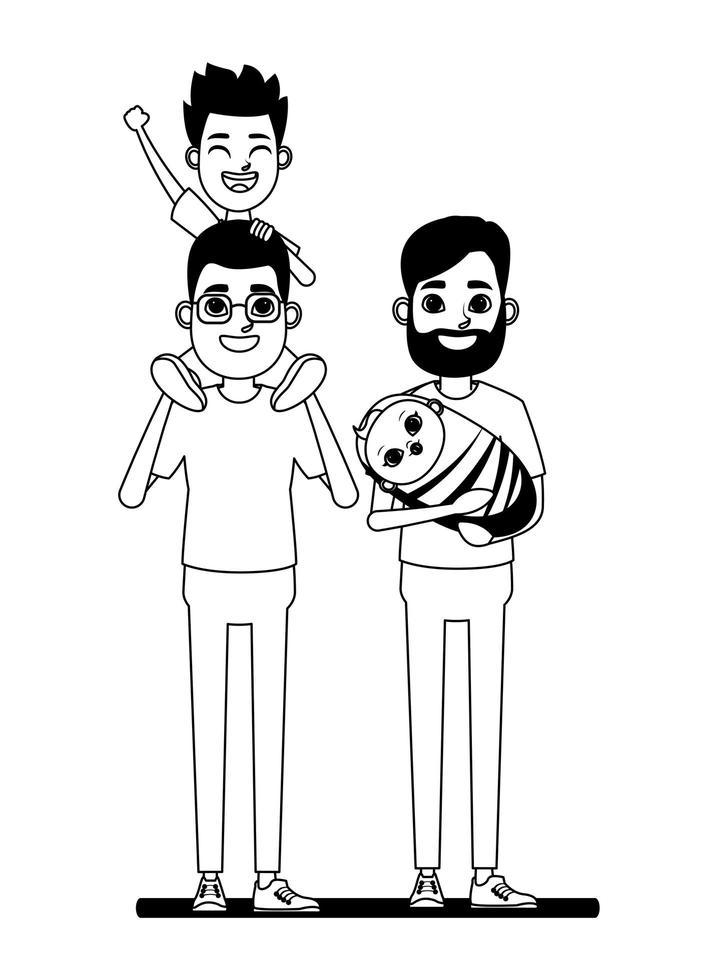 retrato de familia en blanco y negro vector