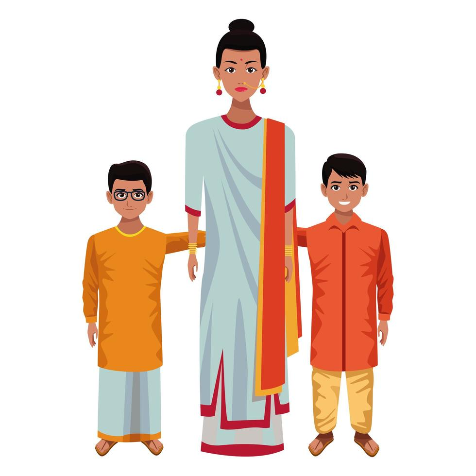 Indian family cartoon characters vector