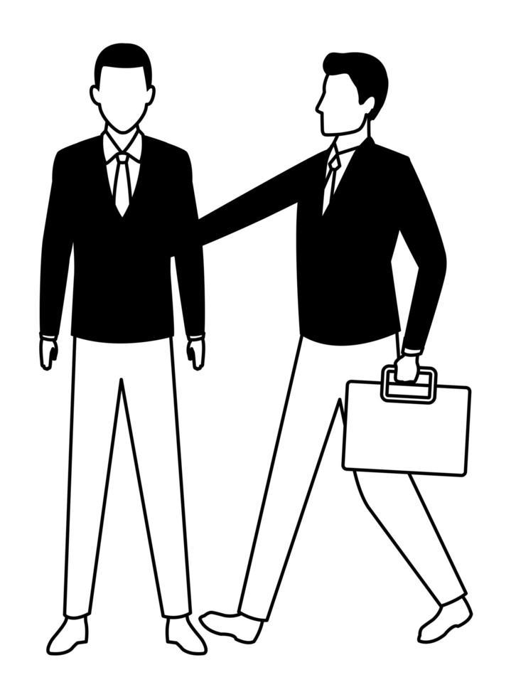personajes de dibujos animados de empresario en blanco y negro vector