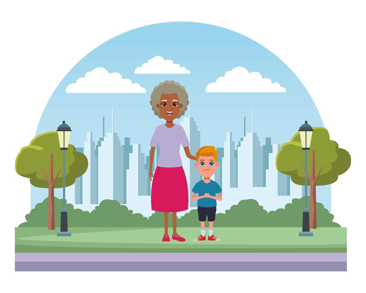 Family cartoon characters outdoors vector