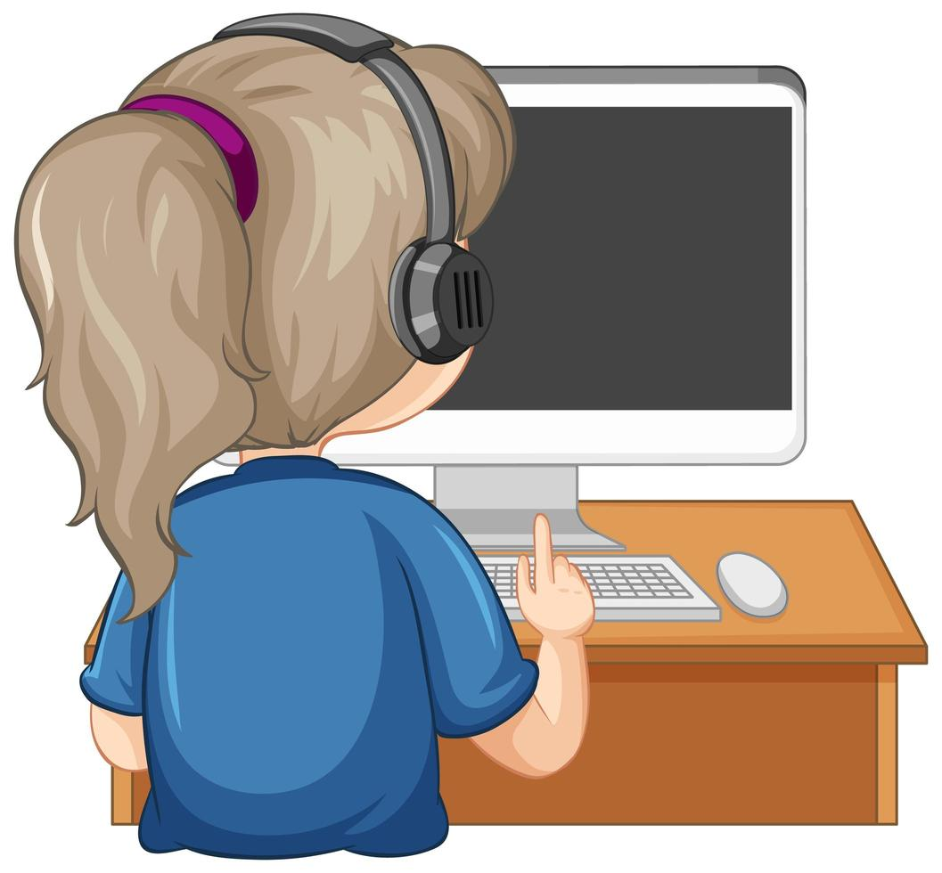 Back View Of A Girl With Computer On The Table White Background 1503760 Vector Art At Vecteezy