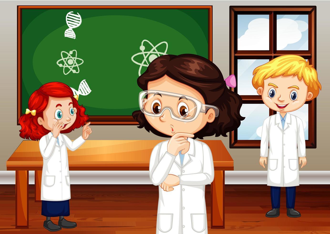 estudiantes en bata de ciencia de pie en el aula vector