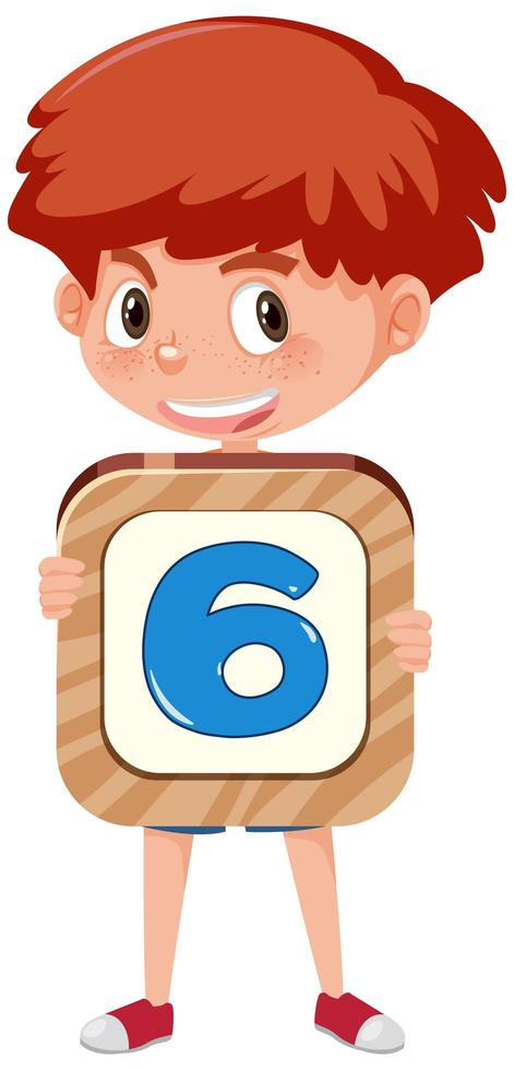 Student boy holding the number cartoon character isolated on white background vector