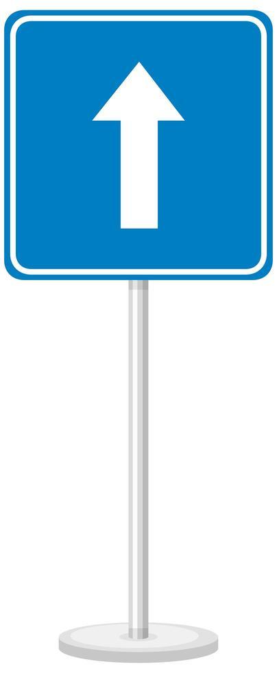 Señal de tráfico unidireccional con soporte aislado sobre fondo blanco. vector