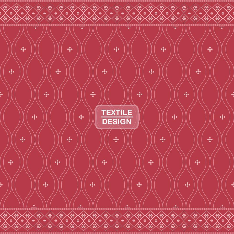 Red seamless traditional textile bandhani sari border pattern vector