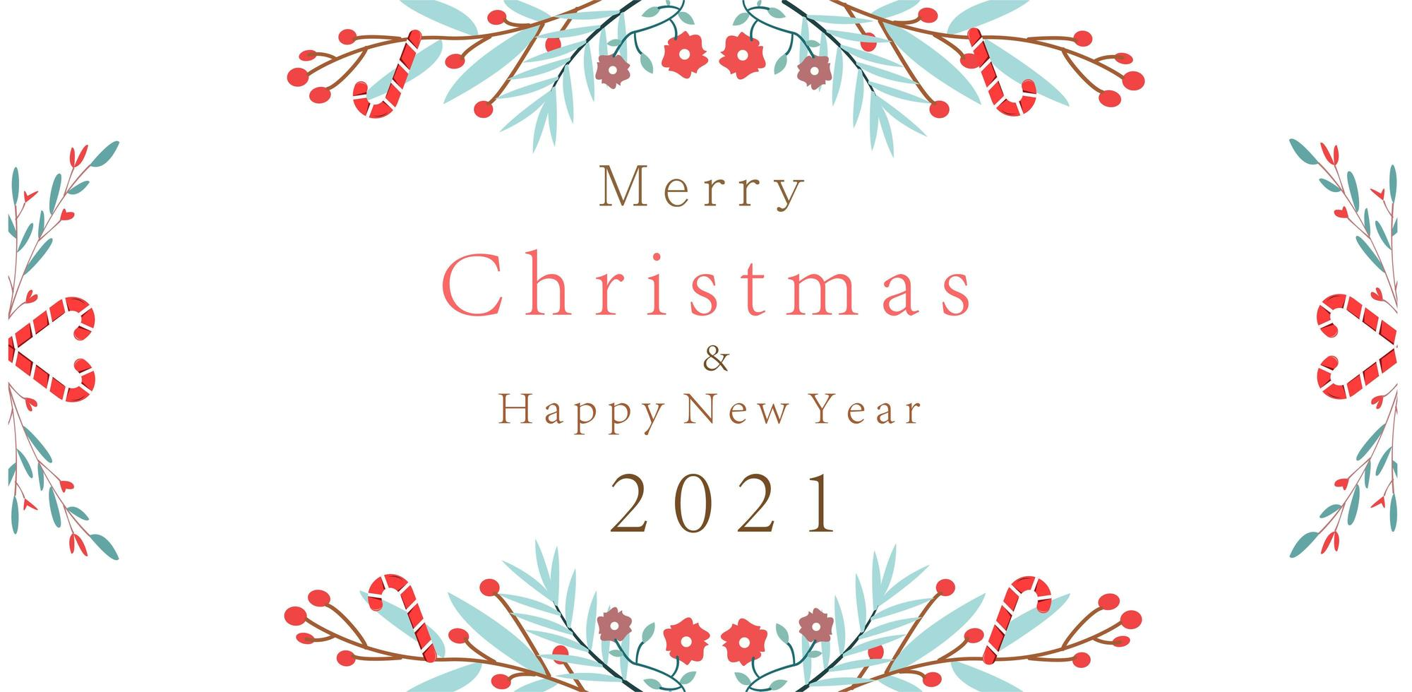 Merry Christmas New Year 2021 design with floral branches vector