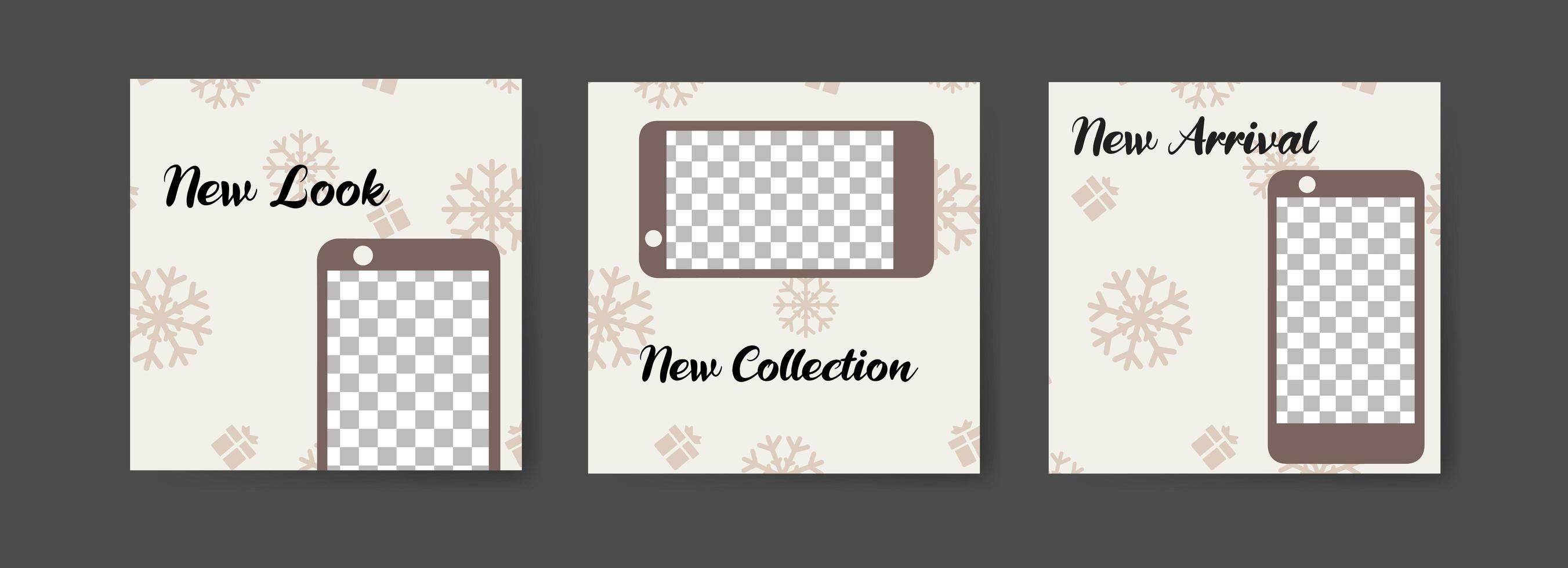 Social media post templates with winter smartphone theme vector