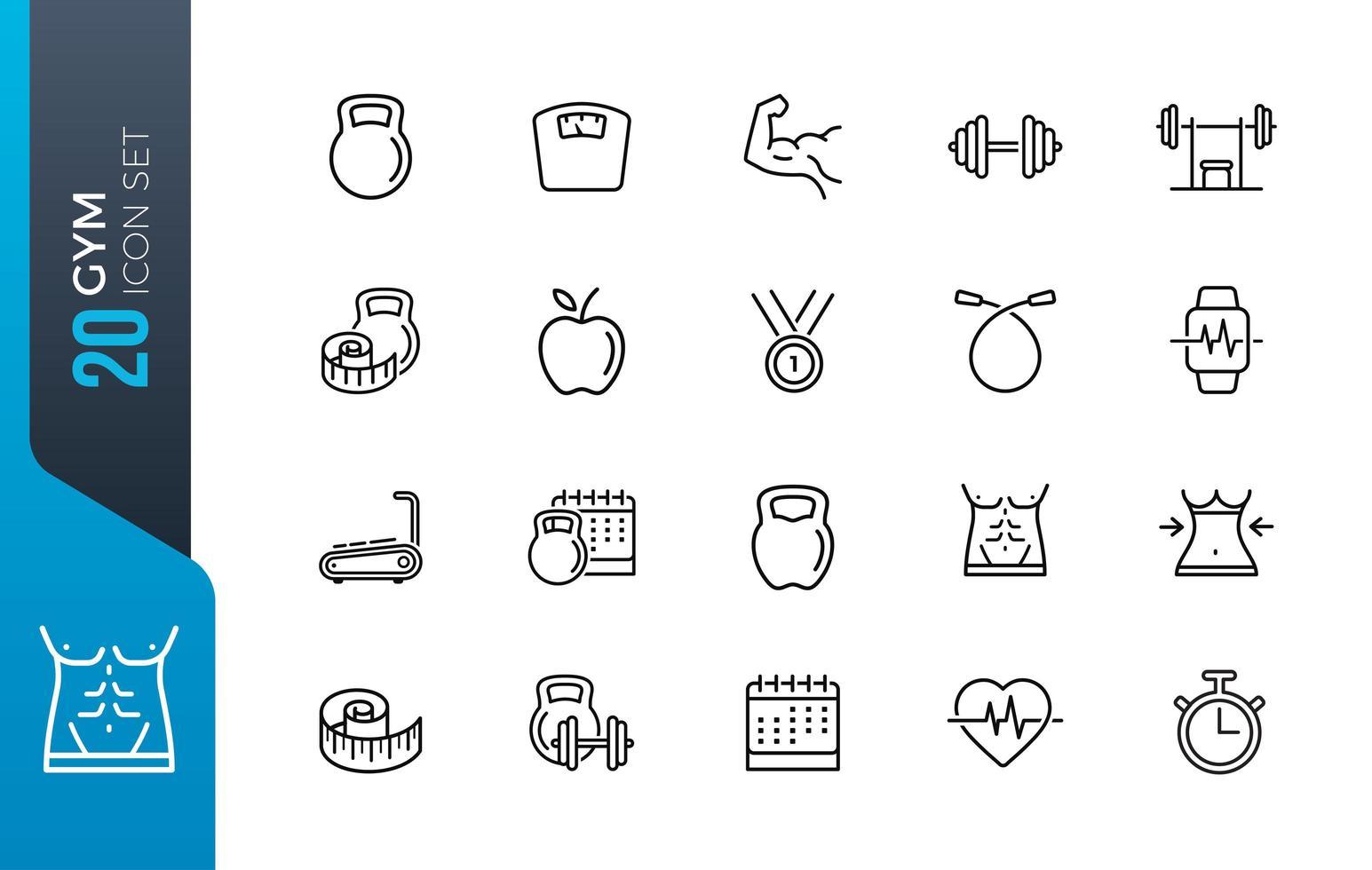 Minimal gym icon set vector