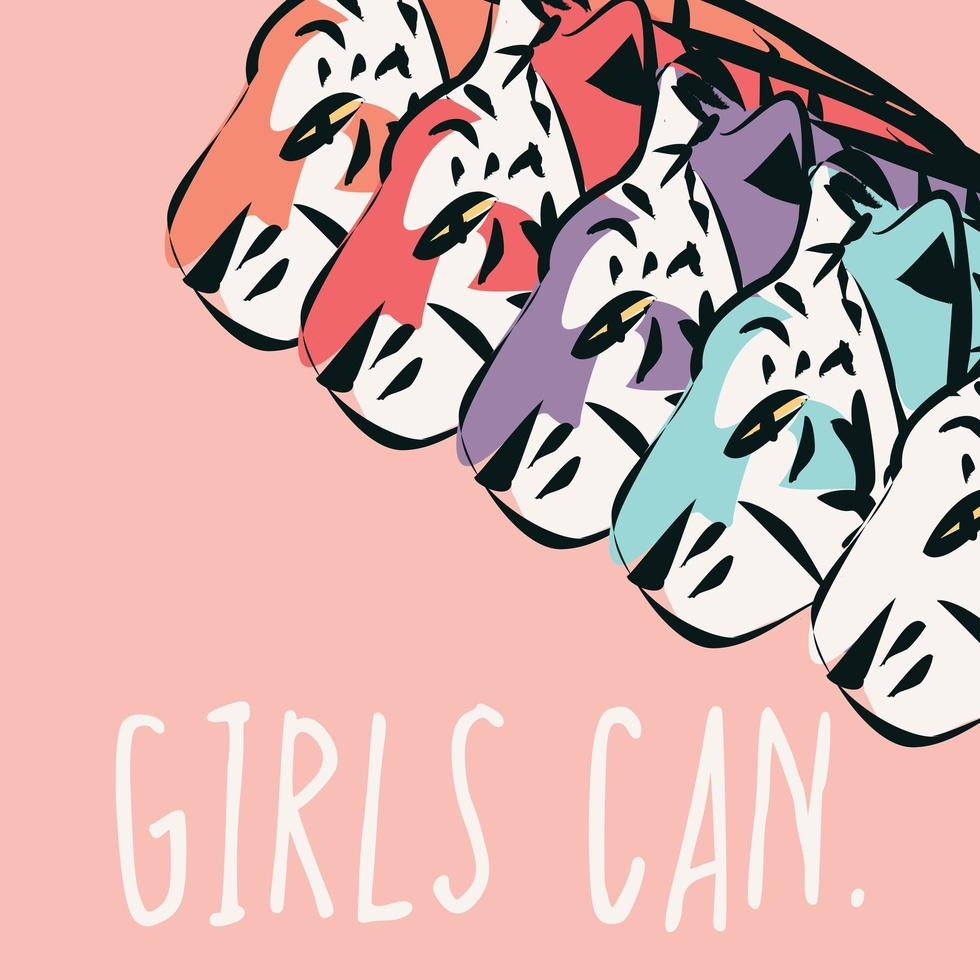 Hand drawn tigers with feminist phrase Girls Can vector