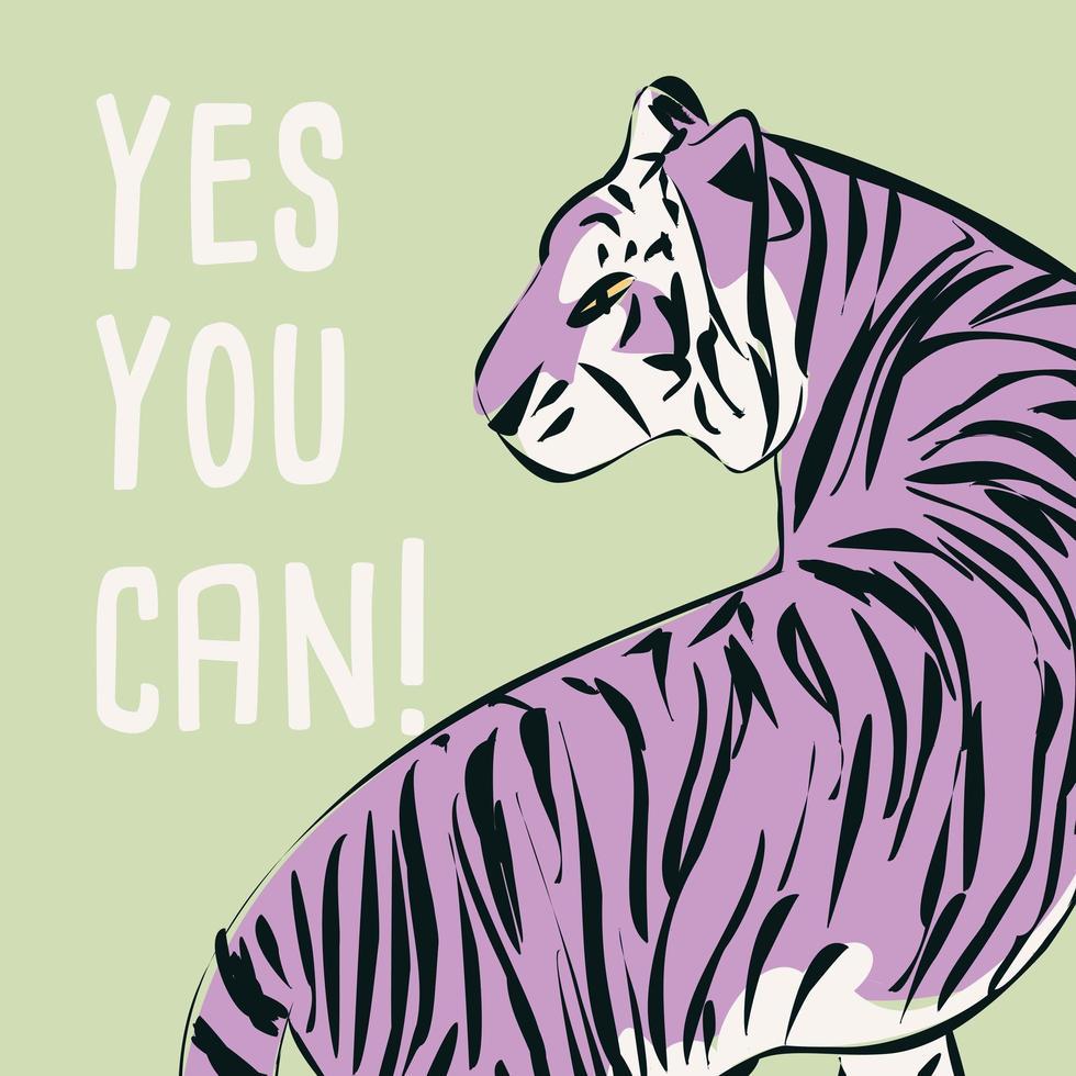 tigre dibujado a mano con frase feminista y mensaje vector