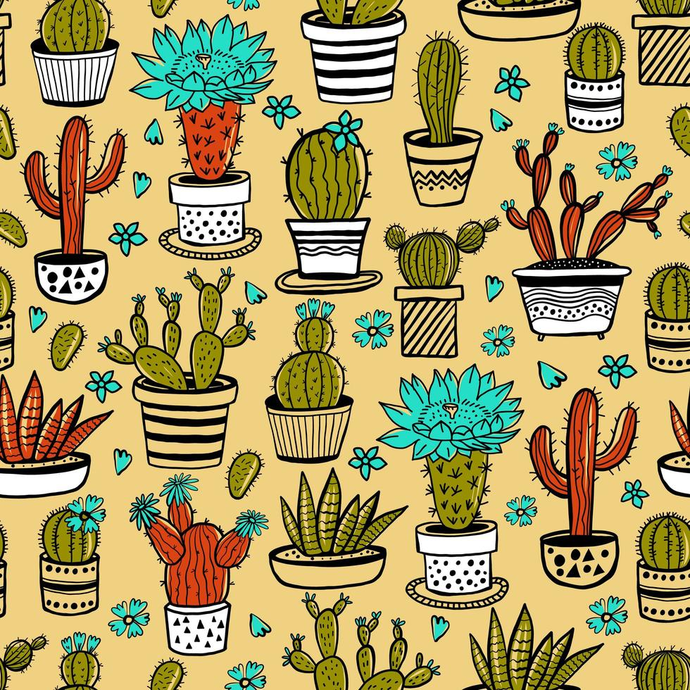 cactus y suculentas dibujadas a mano vector