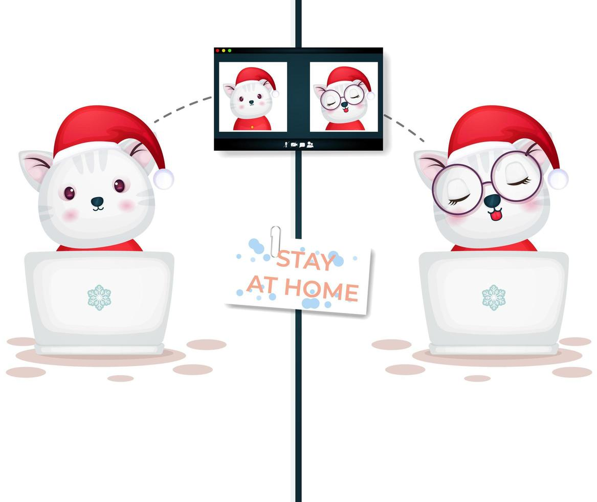 Cute kitty video call on laptop for Christmas day vector