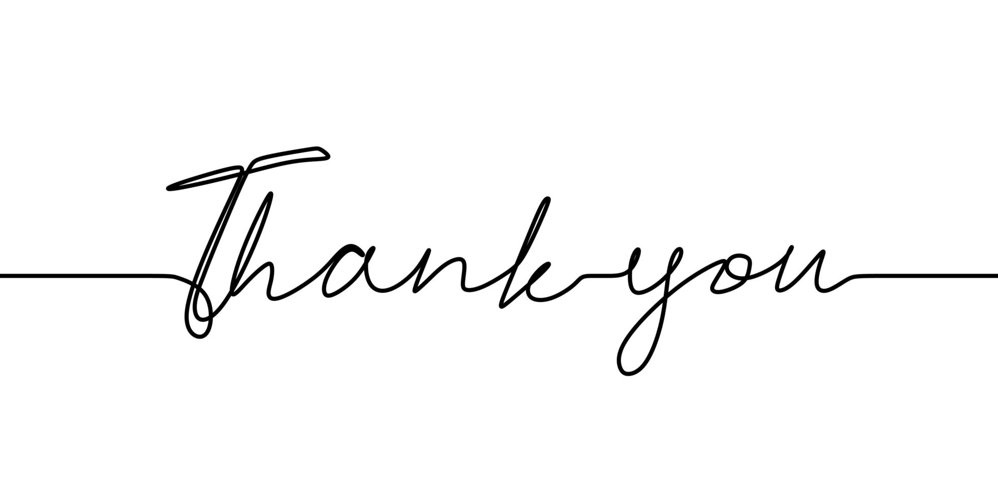 Continuous one line drawing of thank you text. vector