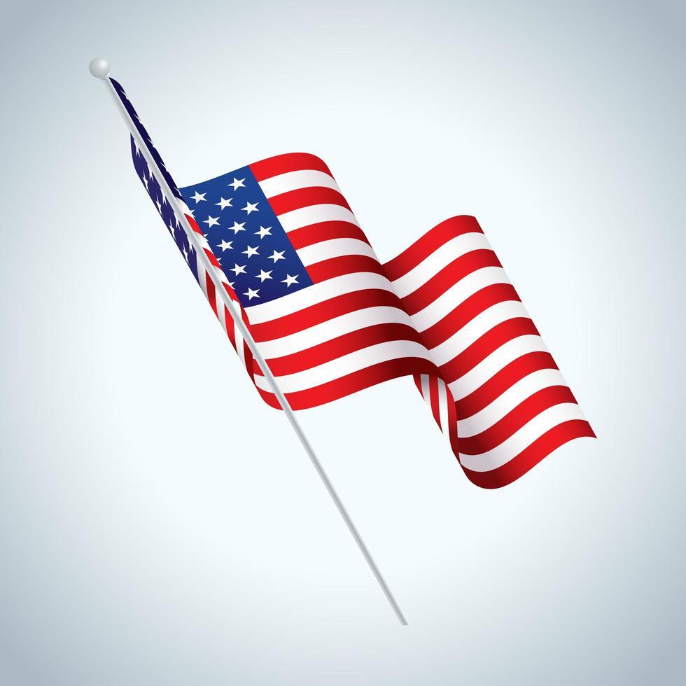 bandera americana, en, poste, ondulación vector