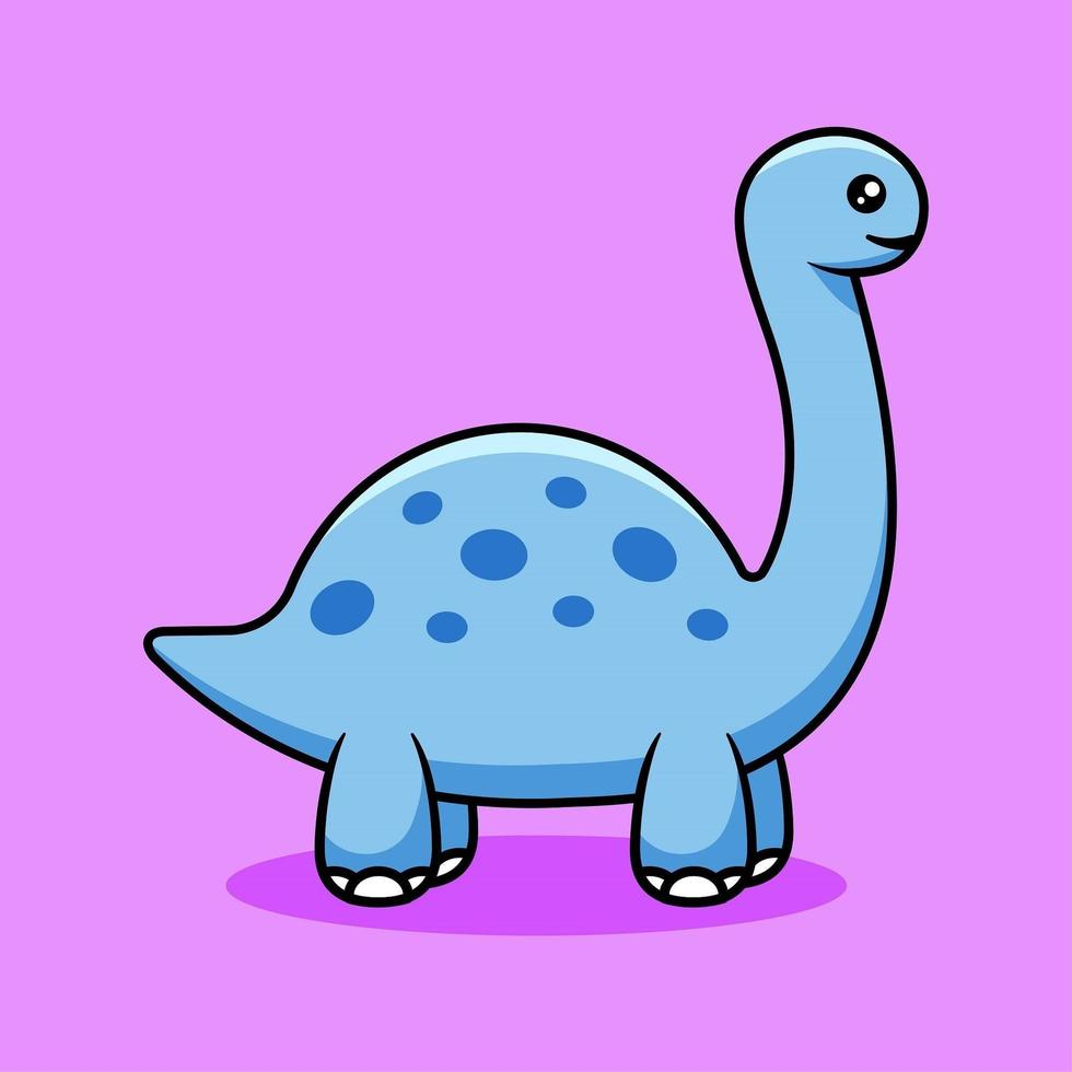 Cute Blue Dinosaur Cartoon vector