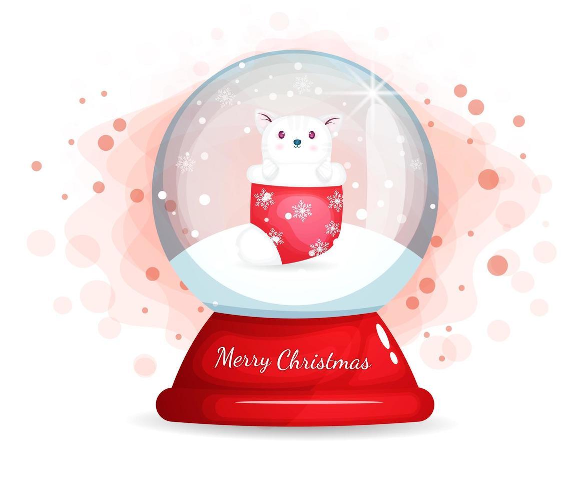 lindo gatito en calcetín en campana de cristal para navidad vector