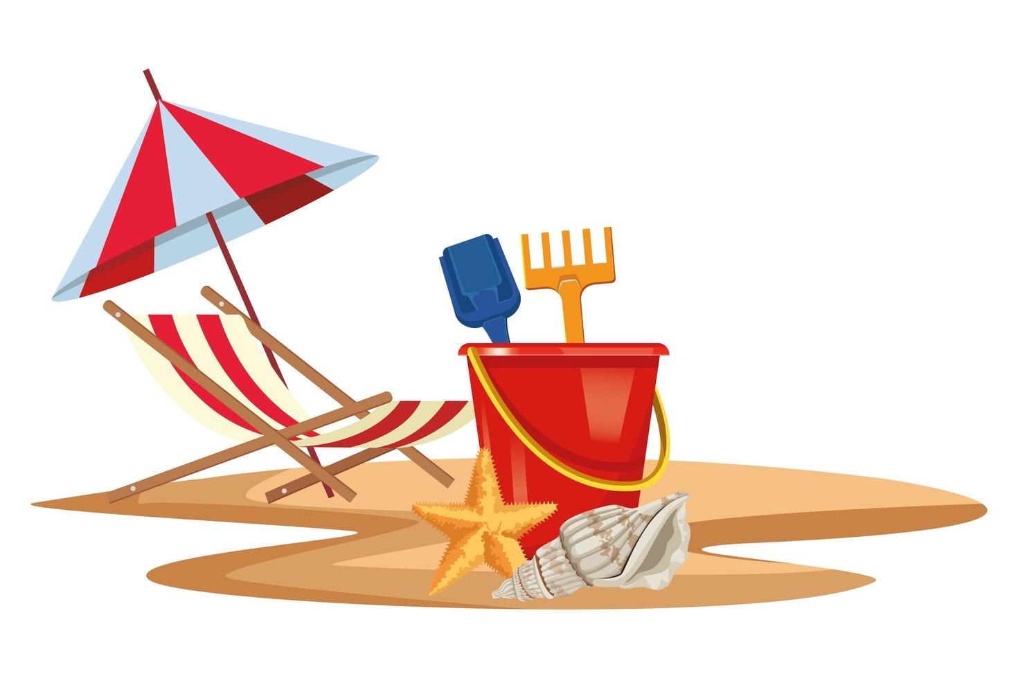 composición de verano, playa y vacaciones vector