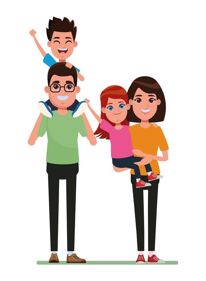 Cartoon family characters vector