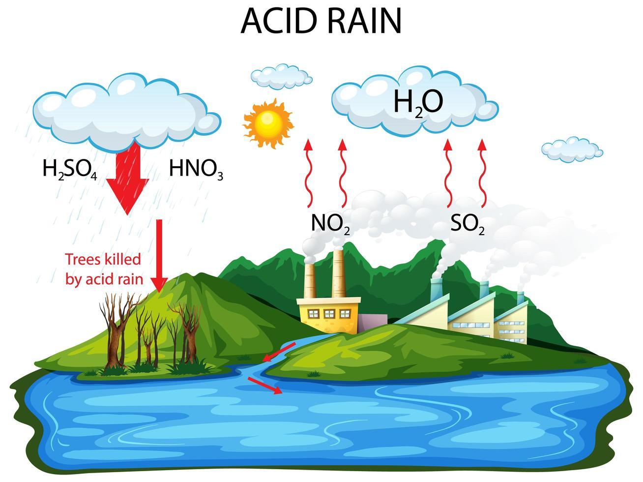 Diagrama que muestra la vía de la lluvia ácida sobre fondo blanco. vector
