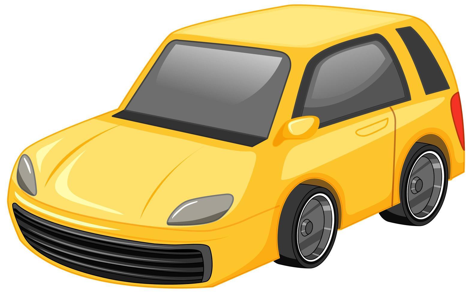 estilo de dibujos animados de coche amarillo aislado sobre fondo blanco vector