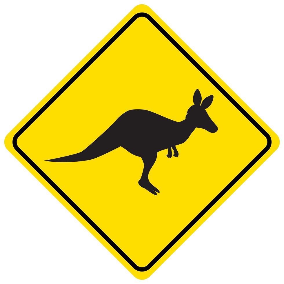 Signo de cruce de canguro aislado sobre fondo blanco. vector