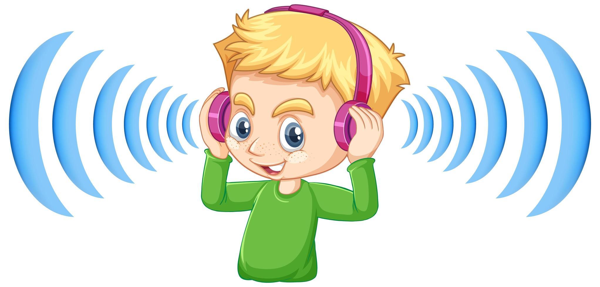 niño con auriculares con cancelación de ruido vector