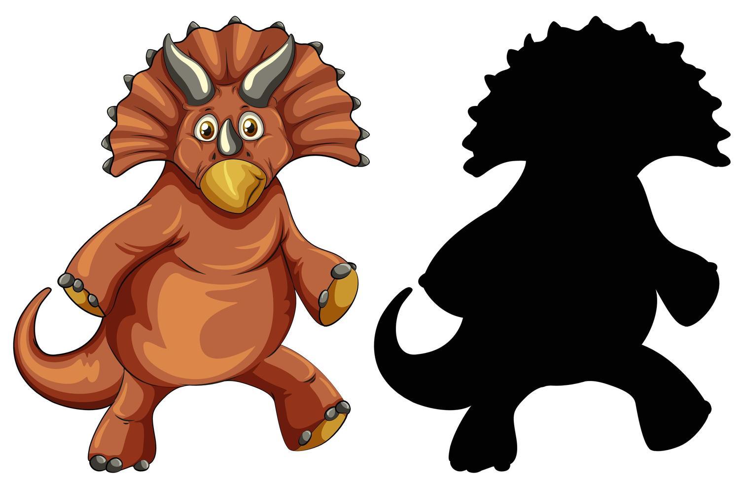 Conjunto de personaje de dibujos animados de dinosaurios y su silueta sobre fondo blanco. vector