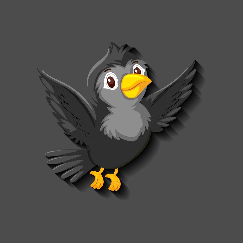 personaje de dibujos animados de pájaro negro vector