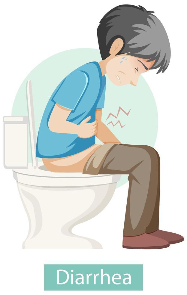 personaje de dibujos animados con síntomas de diarrea vector