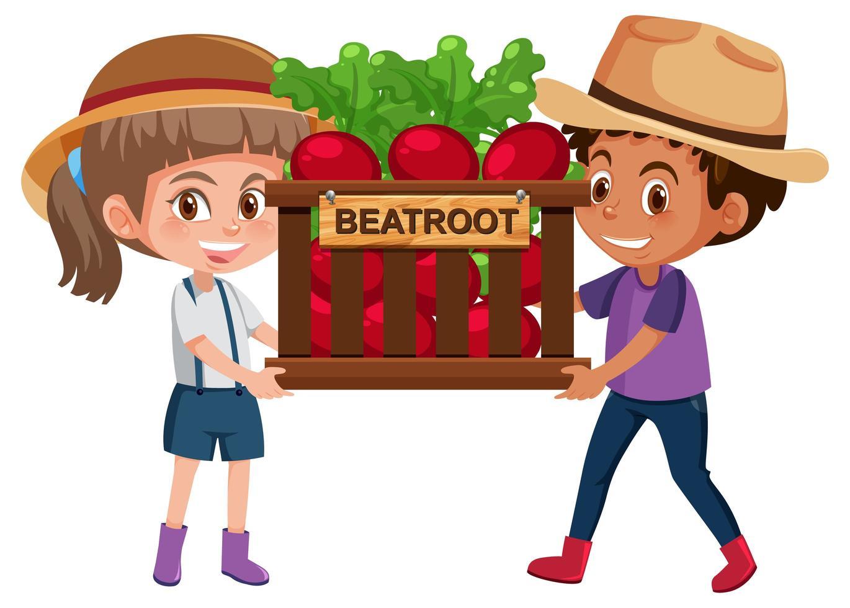 Niños niña y niño con frutas o verduras sobre fondo blanco. vector