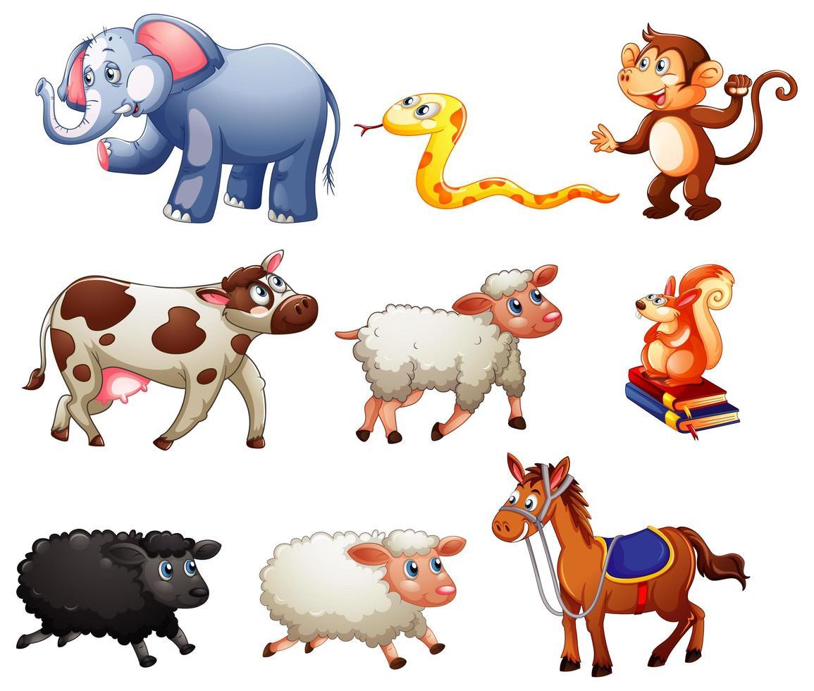 Conjunto de diferentes animales aislado sobre fondo blanco. vector