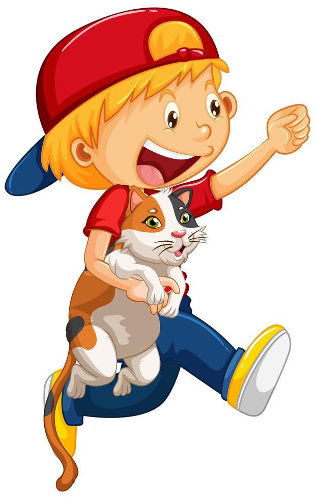 Happy boy with his cat isolated vector
